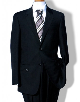 Daniele Black Herringbone 2 Button Mens Suit