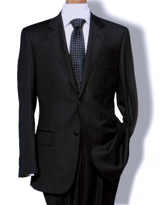 Daniele Black Pinstripe Designer 2 Button 150s Wool Mens Suit