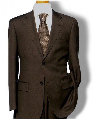 Daniele Brown Sharkskin 150 Wool Mens Dress Suit