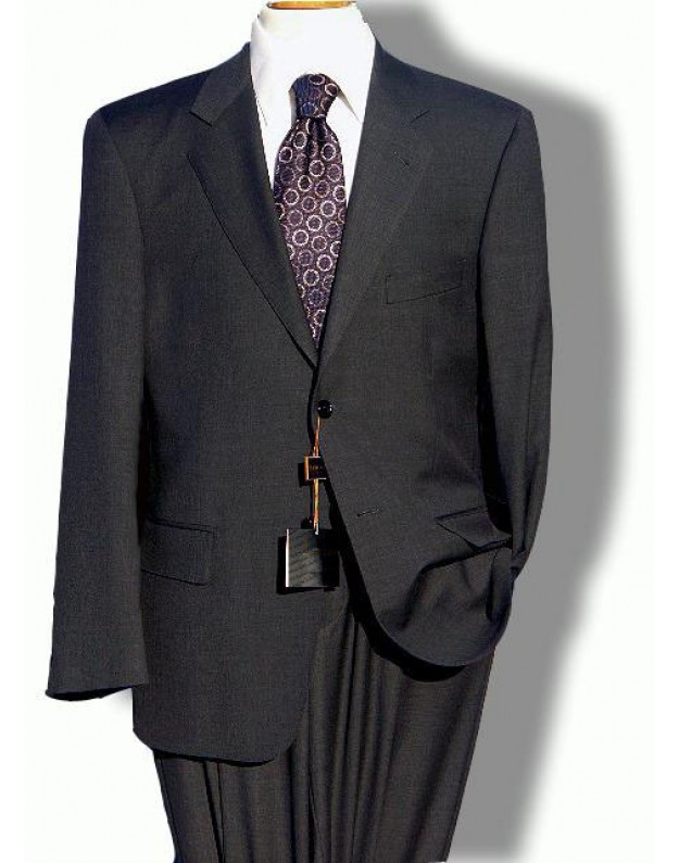 Daniele sottile solid charcoal 2 button wool mens suit for Shirt and tie for charcoal suit