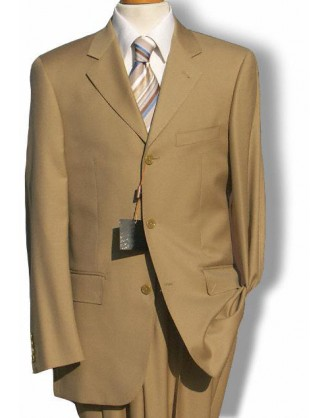 Daniele Solid Tan 3 Button Wool Mens Suit