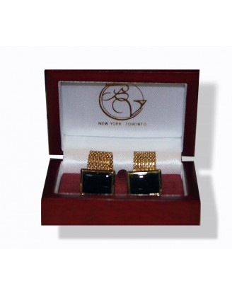 Cufflinks by Bel Verto~Golden Black Wrap Cufflinks