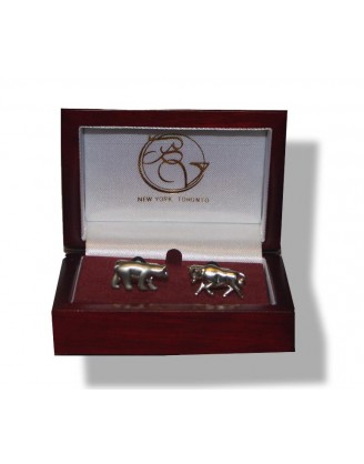 Cufflinks by Bel Verto-Bull Bear~Cufflinks~Stock Broker Silver
