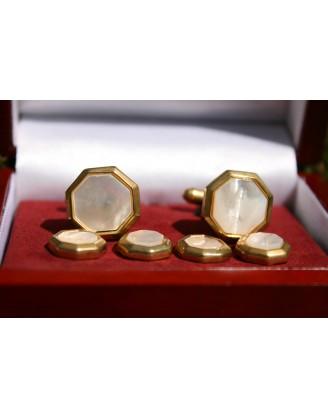 CUFFLINKS by BEL VERTO~GOLDEN PEARL CUFFLINKS