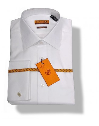 Enzo $179 White 100% Cotton Shirt French or Barrel Cuff