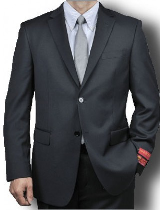 Mantoni Solid Jet Black 2 Button Mordern Fit Mens Suit