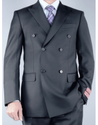 Mantoni Jet Black Double Breasted Mens Classic Cut Suit