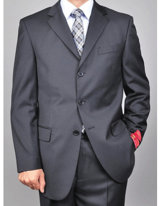 Mantoni 3 Button Solid Black Wool Mens Suit