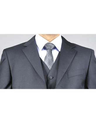Mantoni 3 Button Solid Black Vested Wool Mens Suit
