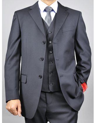 Angelo Rossi Black Solid Business Suit