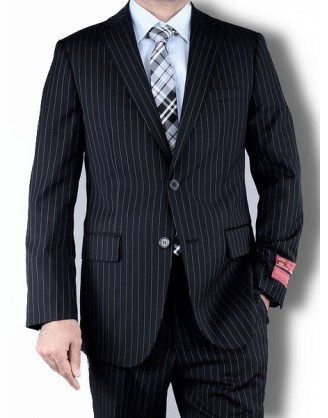Mantoni Black Stripe 2 Button Mens Suit