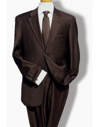 Mantoni Solid Brown 2 Button Classic Mens Suit