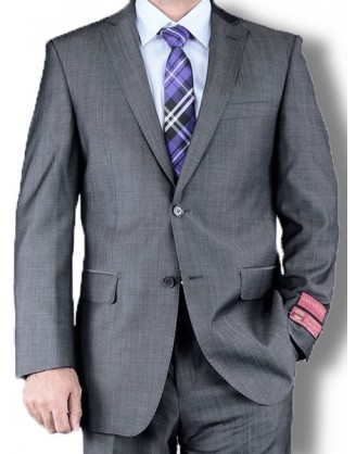Mantoni Solid Medium Gray 2 Button Mens Suit