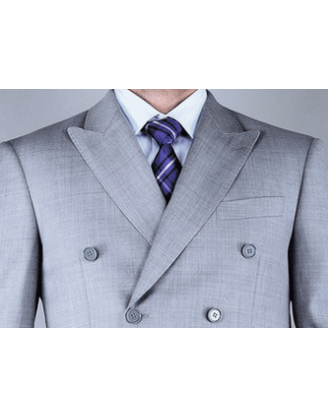 Mantoni Light Gray Double Breasted Mens Classic Cut Suit