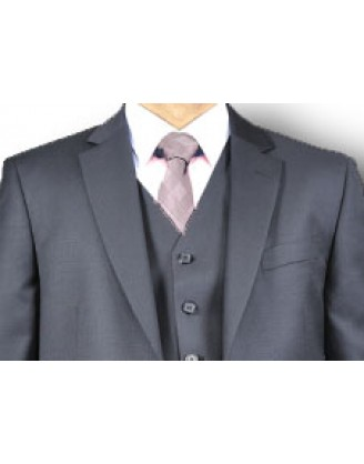 Mantoni Solid Jet Black 2 Button Vested Mens Suit
