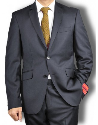 Mantoni Solid Jet Black 2 Button Slim- Fit Mens Suit