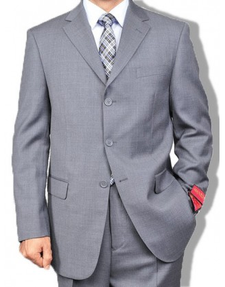 Mantoni 3 Button Solid Grey Wool Mens Suit