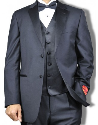 Mantoni Mens 2 Button Vested Notched Lapel Wool Tuxedo
