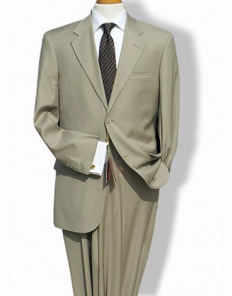 Mantoni Solid Beige 2 Button Mordern Fit Mens Suit