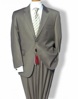 Mantoni Solid Taupe 2 Button Mordern Fit Mens Suit