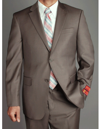 Mantoni Solid Walnut Taupe 2 Button Mordern Fit Mens Suit