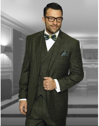Statement Confidence Olive Window TZ-919 2 Button 3 piece Classic Fit S-150's 100% Wool