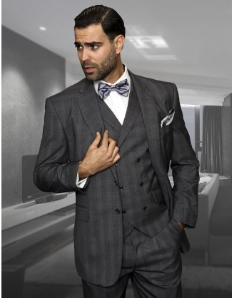 Statement Confidence charcoal Window TZ-919 2 Button 3 piece Classic Fit S-150's 100% Wool