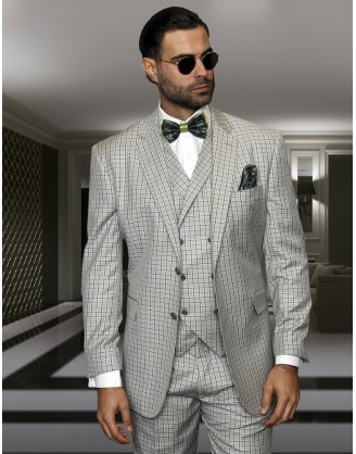 Statement Confidence sage Window TZ-919 2 Button 3 piece Classic Fit S-150's 100% Wool