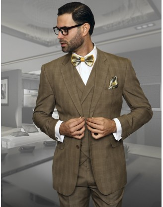 Statement Confidence Camel Window TZ-919 2 Button 3 piece Classic Fit S-150's 100% Wool