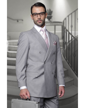 Statement Confidence Double Breasted Solid Light Gray 6 Button Classic Fit S-150's 100% Wool