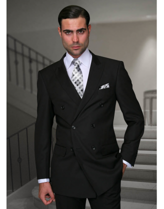 Statement Confidence Double Breasted Solid Liquid Black 6 Button Classic Fit S-150's 100% Wool