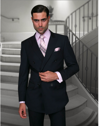 Statement Confidence Double Breasted Peak Lapel Solid Navy 6 Button Classic Fit S-150's 100% Wool