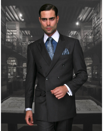 Statement Confidence Double Breasted Peak Lapel Solid Charcoal 6 Button Classic Fit S-150's 100% Wool