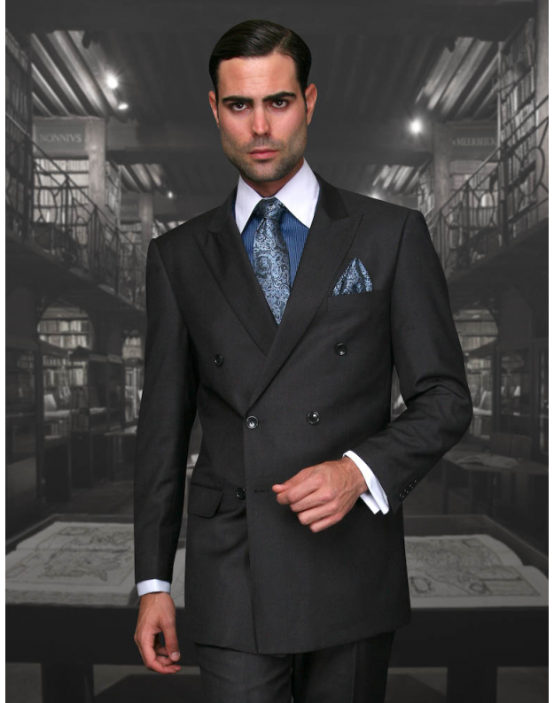 Statement Confidence Double Breasted Peak Lapel Solid Charcoal 6