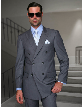 Statement Confidence Double Breasted Peak Lapel Solid Med Gray 6 Button Classic Fit S-150's 100% Wool