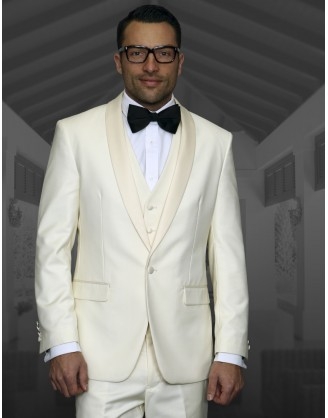 STATEMENT Enzo Off White Shawl Lapel Tuxedo 1 Button 3 piece Modern Fit S-150s's 100% Wool in