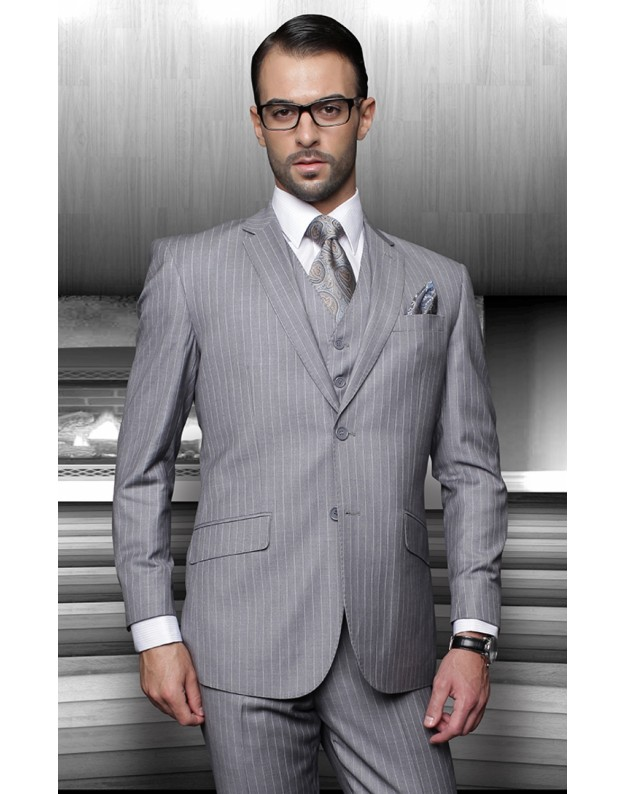Gray Pinstripe 2 Button 3 piece Slim Fit 100% Wool